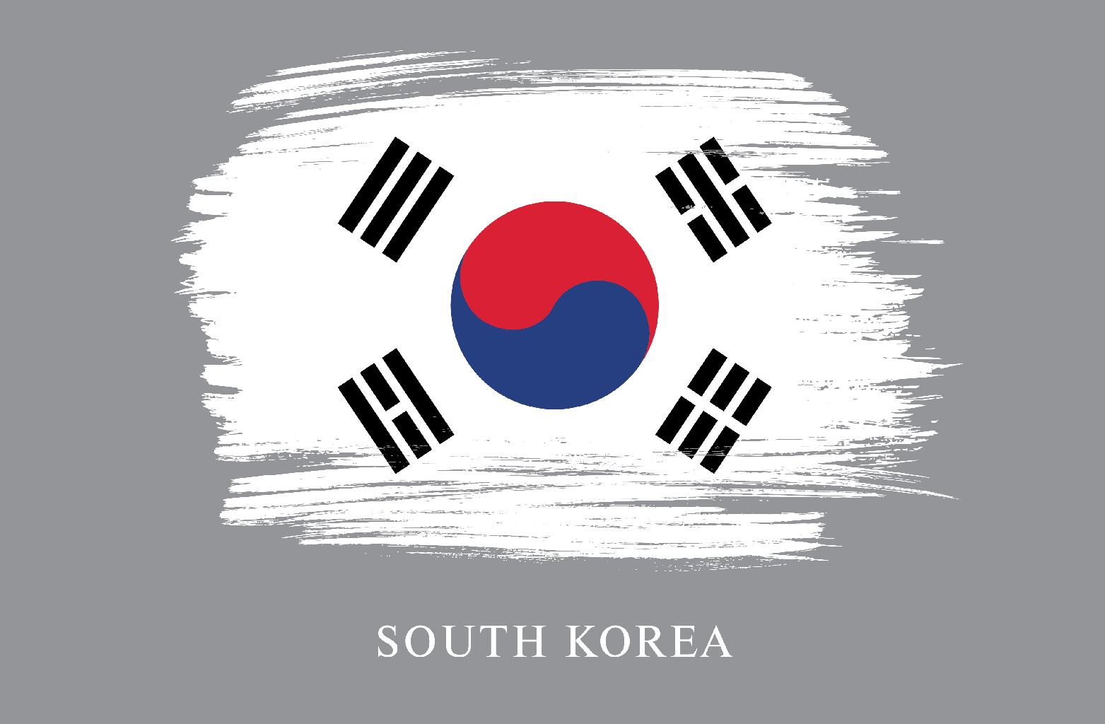 Artistically stressed flag of South Korea