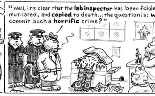 A funny cartoon of pet detectives investigating a murder of a trial co-ordinator