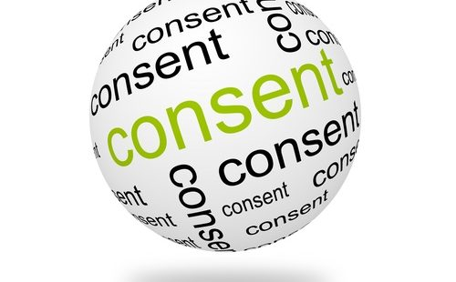 A ball with a Wordcloud around the concept of 'Consent'
